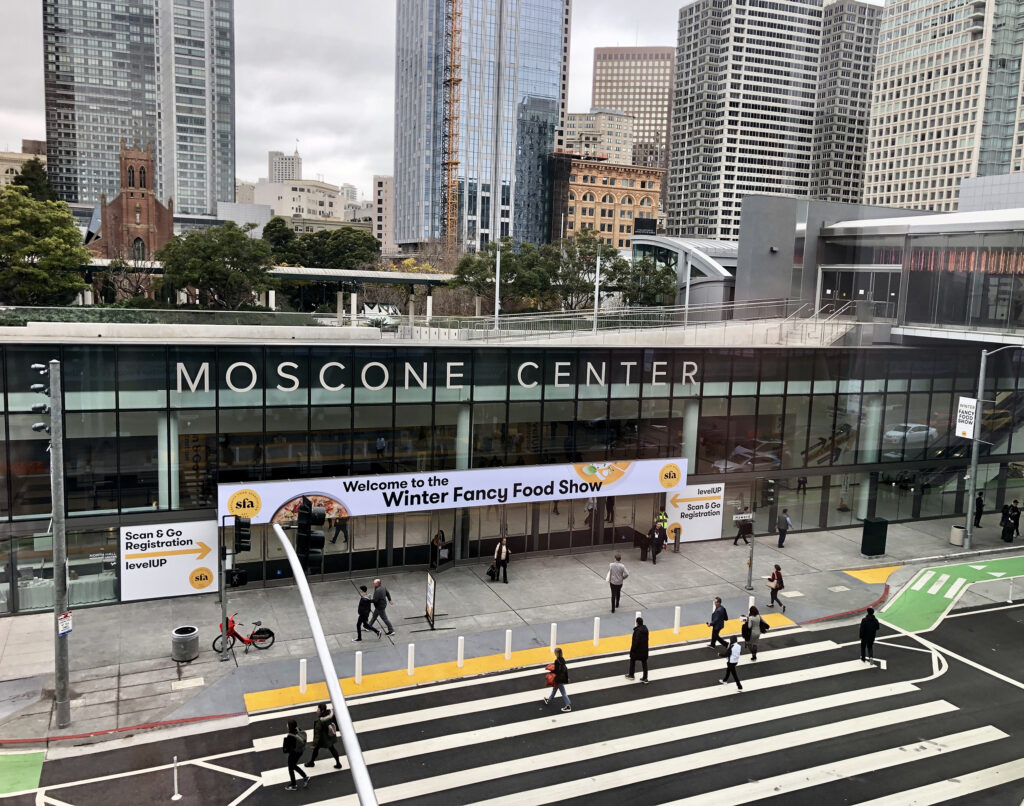 exterior photo of the front of the moscone center